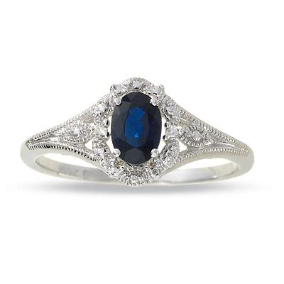 oval blue sapphire filigree ring in 10k white gold with