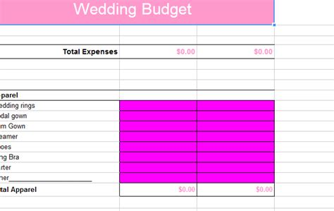 Wedding Budget Spreadsheet Nz by The Cavalier All In One Wedding Spreadsheet