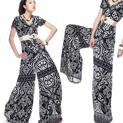 black pattern jumpsuit free ship plus size xxxl summer 2012 fashion black print