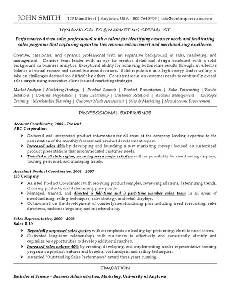 Marketing Specialist Sle Resume by Sales Marketing Specialist 5
