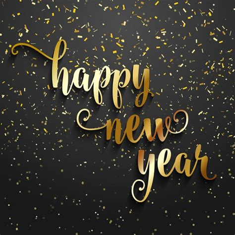 best new years happy new year background with golden confetti vector