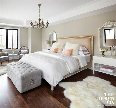 white and peach bedroom master bedroom parisian chic sheepskin rugs tufted
