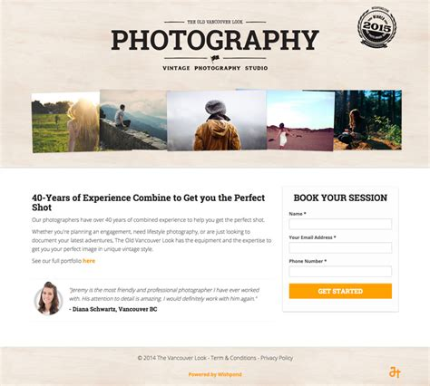 Photographer Description by An Ideal Landing Page For Photographers