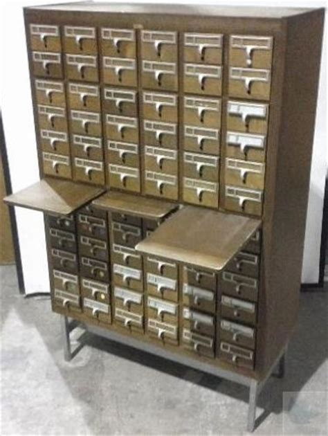 Card Cabinet For Sale by Vintage Wooden Brodart 72 Drawer Library Card Catalog