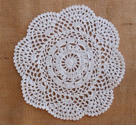 Handmade Doily - 8 quot handmade cotton crochet doilies white 2 pack