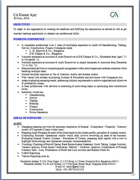 Cruise Line Security Officer Sle Resume by Sle Resume For Ca Articleship 28 Images Cv Templates In Word More Than 1000 Curriculum
