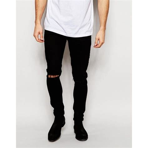ripped skinny jeans polyvore asos super skinny jeans with knee rips 45 liked on