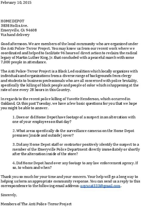 cover letter for home depot statement on the emeryville department s killing of