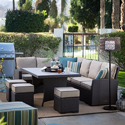 sofa sectional patio dining set brown modern all weather wicker aluminum sofa