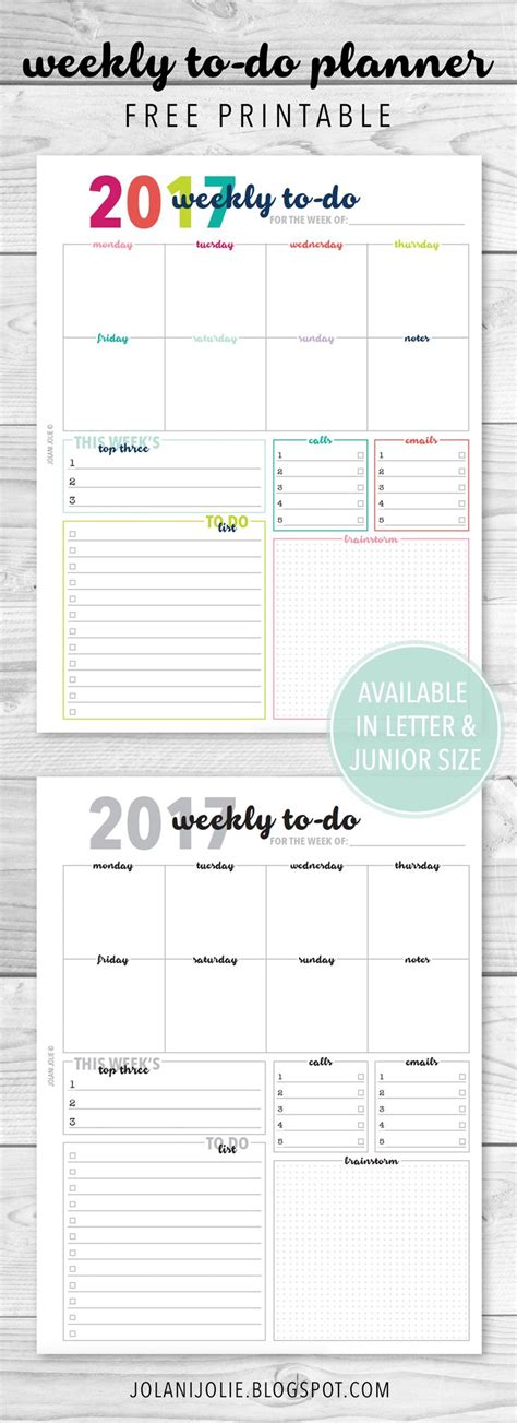 weekly to do calendar template best 25 free printable planner ideas on