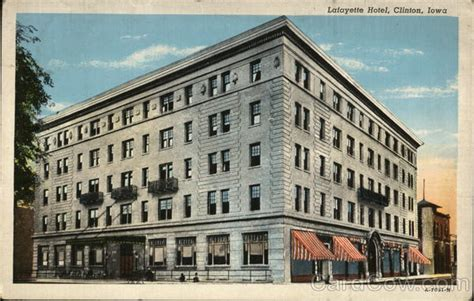 Clinton Iowa Post Office by Lafayette Hotel Clinton Ia Postcard
