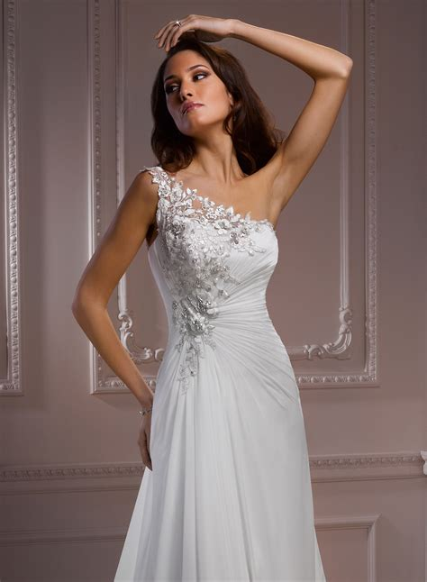 One Shoulder Wedding Dress by Chiffon One Shoulder Wedding Dress Dresscab
