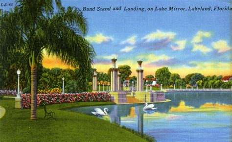 Lakeland Florida Records Florida Memory Band Stand And Landing On Lake Mirror Lakeland Florida