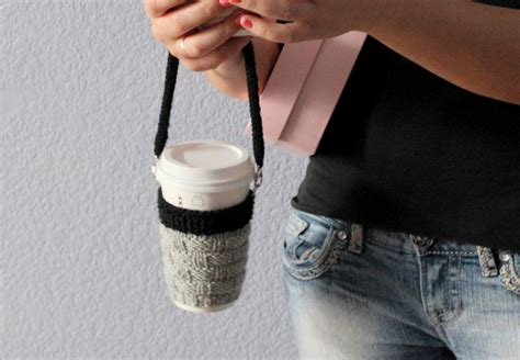 Knit coffee cozy with lanyard Coffee cup sleeve Coffee cup