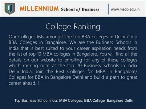 Top B Schools In India For Mba by Millennium School Of Business Msob Top Business