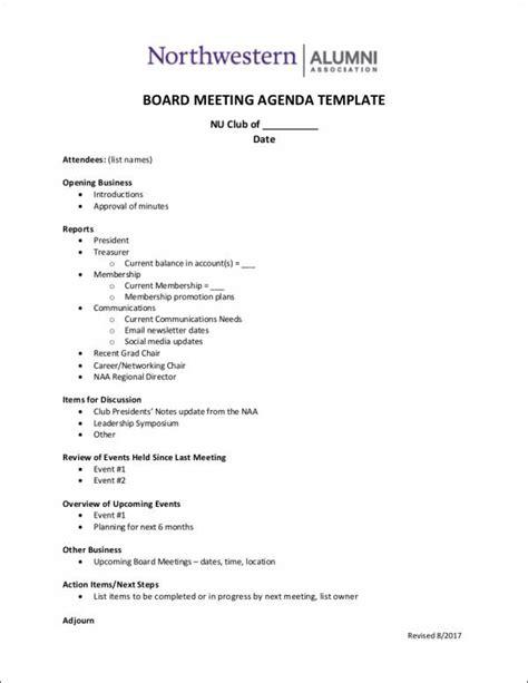 10 Board Agenda Sles Templates Sle Templates Alumni Database Template