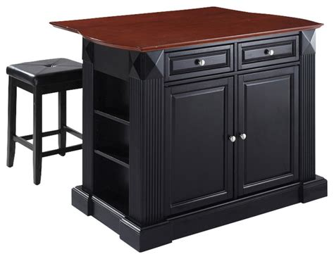 top kitchen island with square seat stools traditional