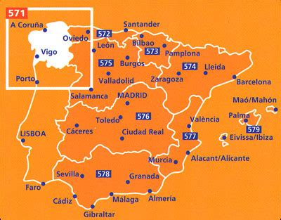 galicia michelin regional map 571 stanfords