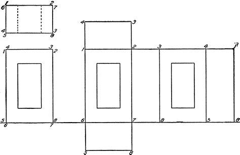 development of hollow rectangular prism clipart etc