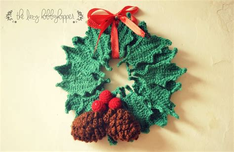 crochet pattern for xmas wreath the lazy hobbyhopper crochet christmas wreath free pattern