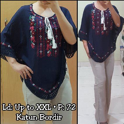 Kemeja Katun Bordir Import Fashion Wanitakemeja Katun Halus jual blouse batwing bordir import 116360 top di
