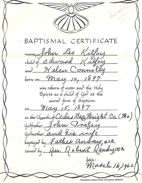 baptism certification letter homepage of susan kern