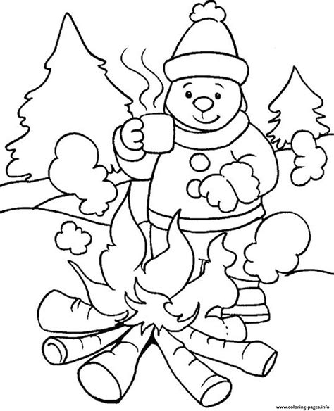 printable winter images warming with fire in winter sfbbd coloring pages printable