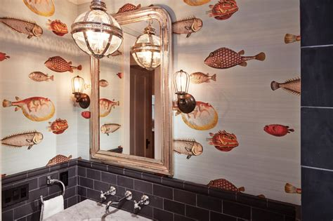 fish wallpaper bathroom photos hgtv