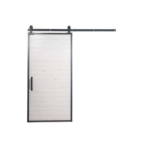 Sliding Barn Door Hardware Kit Rustica Hardware 42 In X 84 In Mountain Modern White Wood Barn Door With Mountain Modern