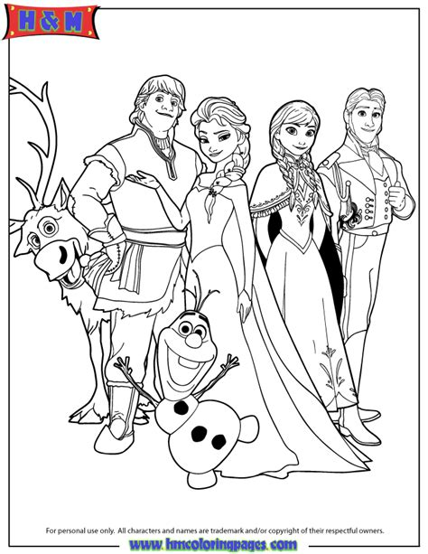disneys frozen characters coloring page h m coloring pages