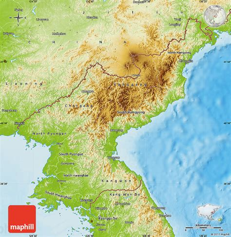 korea physical map physical map of korea
