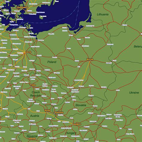 poland rail travel map european rail guide