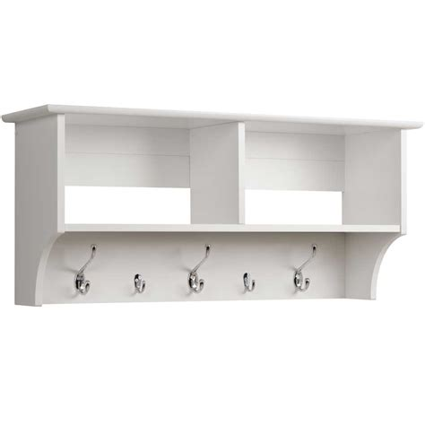 36 Inch Shelf 36 inch hanging shelf with coat hooks in wall coat racks