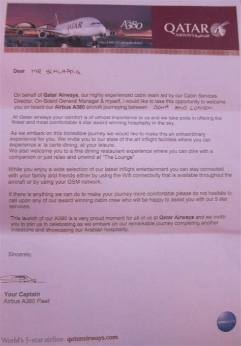 Offer Letter Sle Qatar Review Qatar Airways Class A380 Doha To Heathrow One Mile At A Time