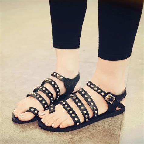 cheap black gladiator sandals cheap fashion flat low heel black pu gladiator sandals