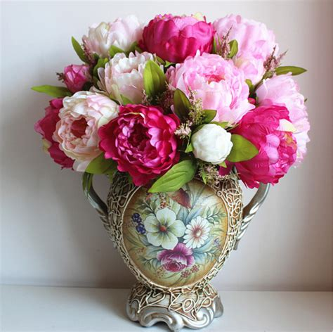 silk flower arrangements fake flower bouquets shop aliexpress com buy large bridal bouquet artificial silk