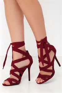 maroon color heels burgundy heels vegan suede heels caged heels 31 00
