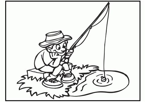 coloring page of little boy fishing boy fishing coloring page coloring home