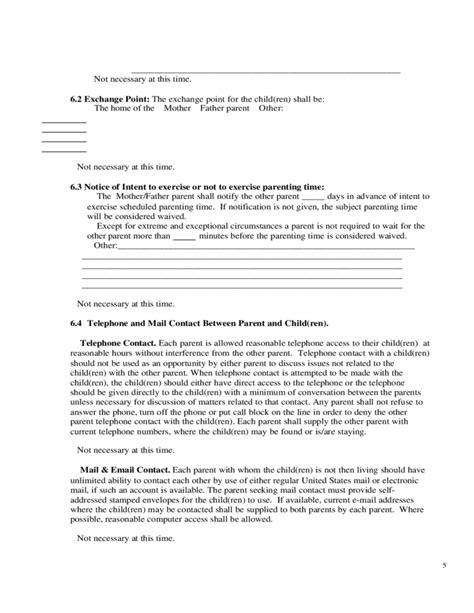 Sle Parenting Plan Form Free Download Shared Parenting Agreement Template