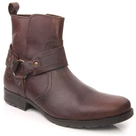 zip up mens boots unze lili mens leather buckled zip up ankle winter boots