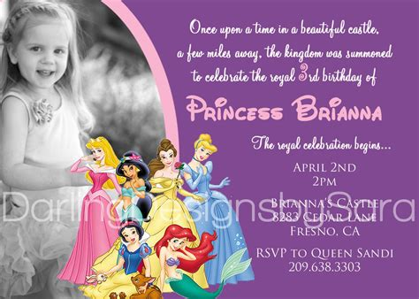 Disney Princesses Birthday Invitations : Disney Princess Birthday Invitations Free Templates