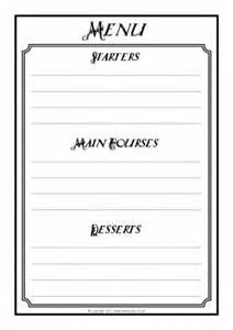 menu writing frames and printable page borders ks1 amp ks2