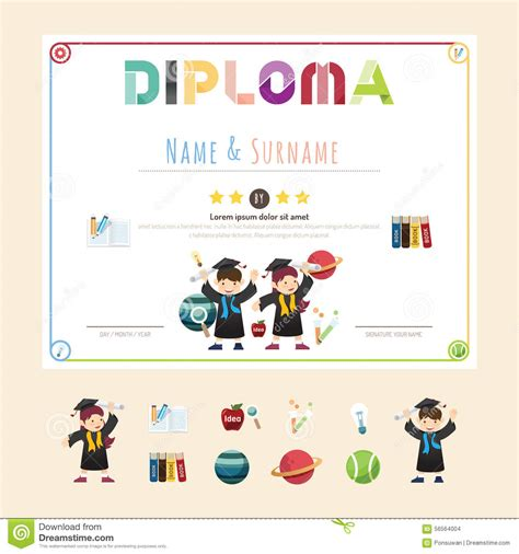 layout artist qualifications diploma certificate icons vector illustration