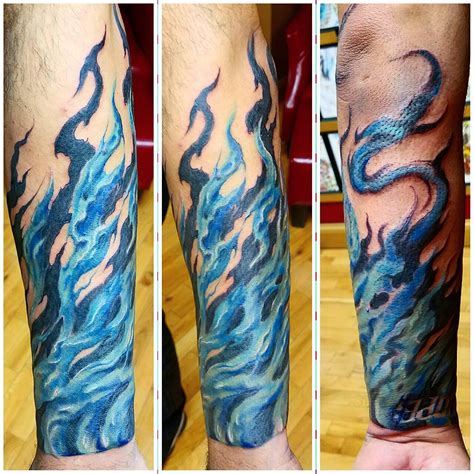blue flame tattoo 85 designs meanings for and 2018
