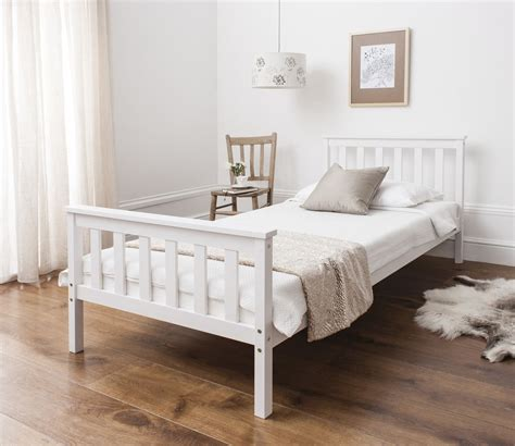 Small Single Bunk Beds Single Bed In White 3ft Single Bed Wooden Frame White Ebay