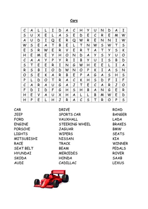 Car Types Word Search by Cars Wordsearch By Annecpaterson Teaching Resources Tes