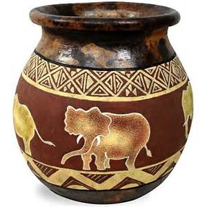 Flower In Vase Drawing African Pots Tabletop Gold Coast Africa Product