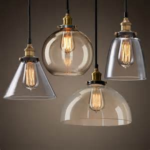 Pendant Shade Lighting New Modern Vintage Industrial Retro Loft Glass Ceiling L Shade Pendant Light Moonlight Retail