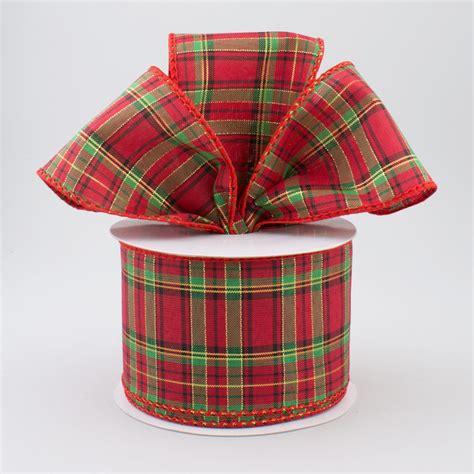 scotch plaid 2 5 quot metallic red scotch plaid ribbon black red green
