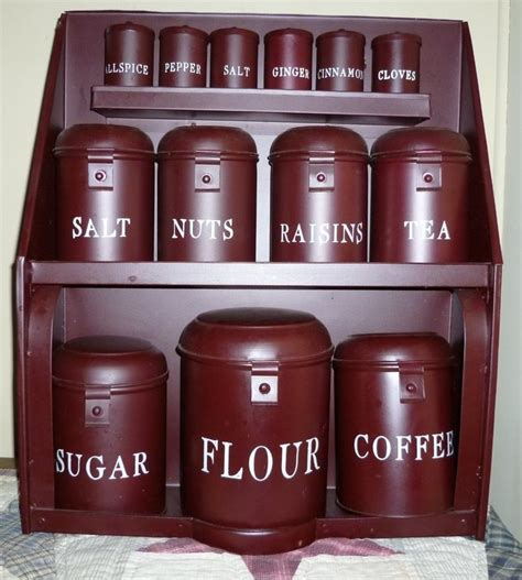 Burgundy Kitchen Canisters by Primitive Tin Canister Set Burgundy Large Hanging